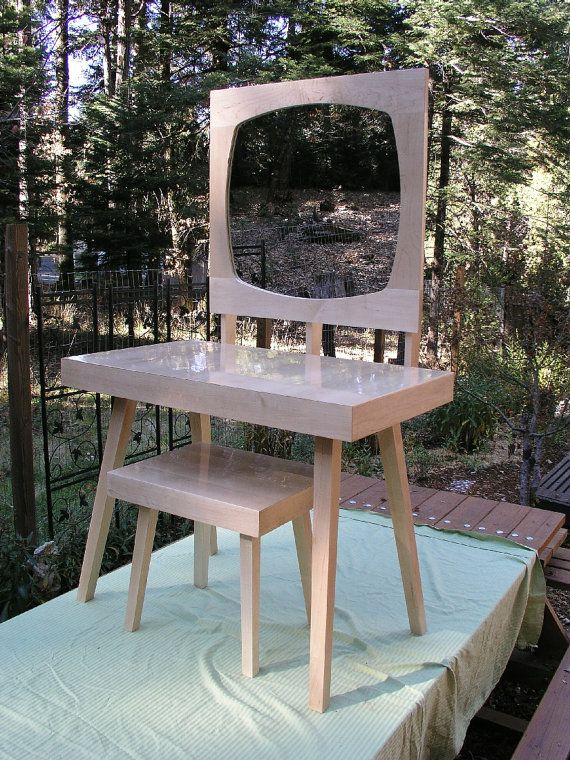 Modern Mirrored Vanity Table Set Mid Century Style Maple Makeup Bathroom Bedroom Furniture