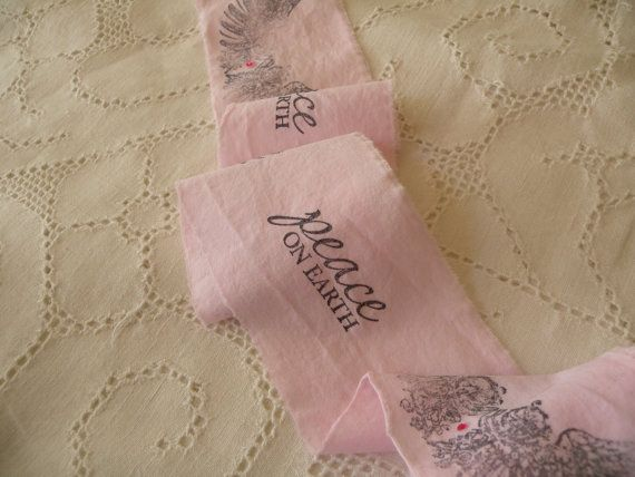 Pale Pink Hand Stamped Christmas Ribbon with by pinkelish on Etsy