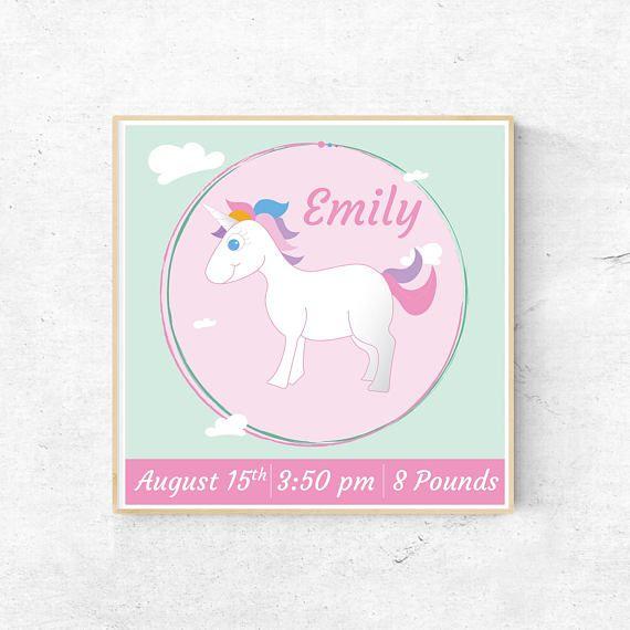 Birth Certificate, Unicorn, baby shower gift, baby gift nursery ...