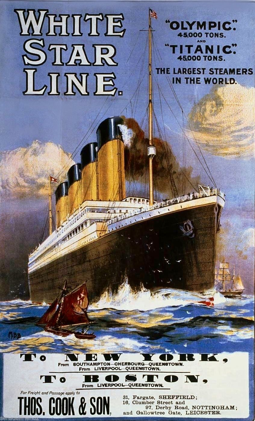 White Star Line Olympic and Titanic Advertising Poster ...