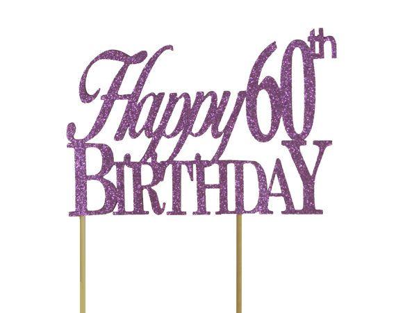 Purple Happy 60th Birthday Cake Topper 1pc