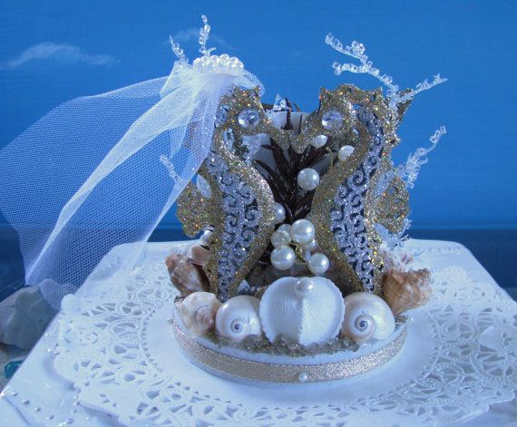 Seahorse Wedding Cake Topper