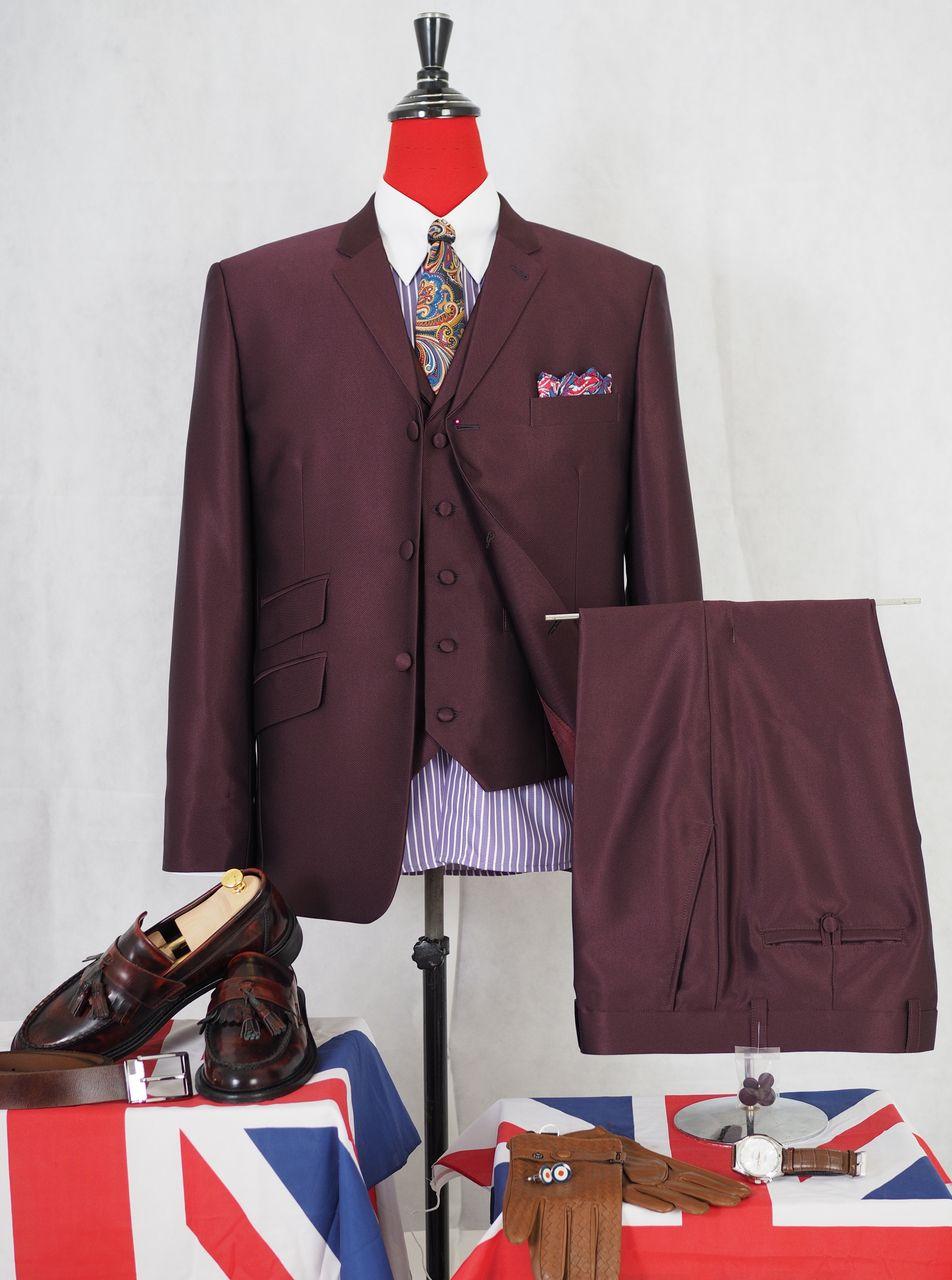Burgundy 3 Piece Mod Suit Bespoke 3 Button Tonic Wedding
