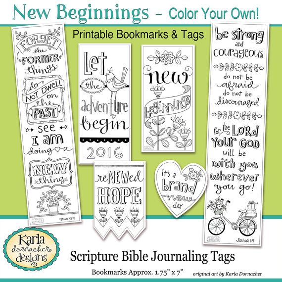 50 OFF SALE 2017 NEW Beginnings New Year Color Your Own Bookmarks Bible Journaling Tags Tracers Instant Download Scripture Digital Printab