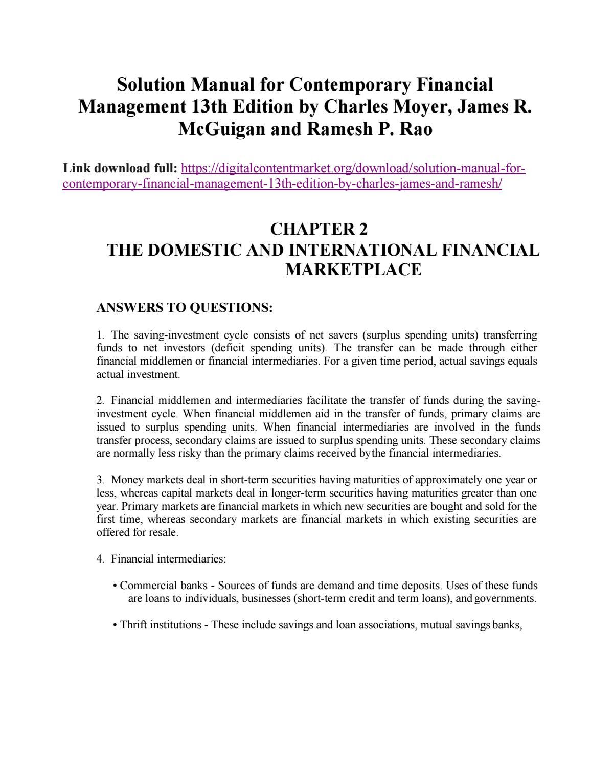 solution manual for contemporary financial management 13th edition rh pinterest com Calculus Student Solutions Manual PDF Calculus Student Solutions Manual PDF