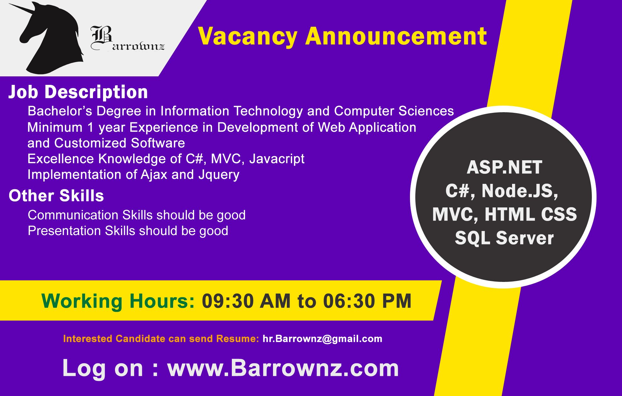 Vacancies at Barrownz Group. Interested Candidates can