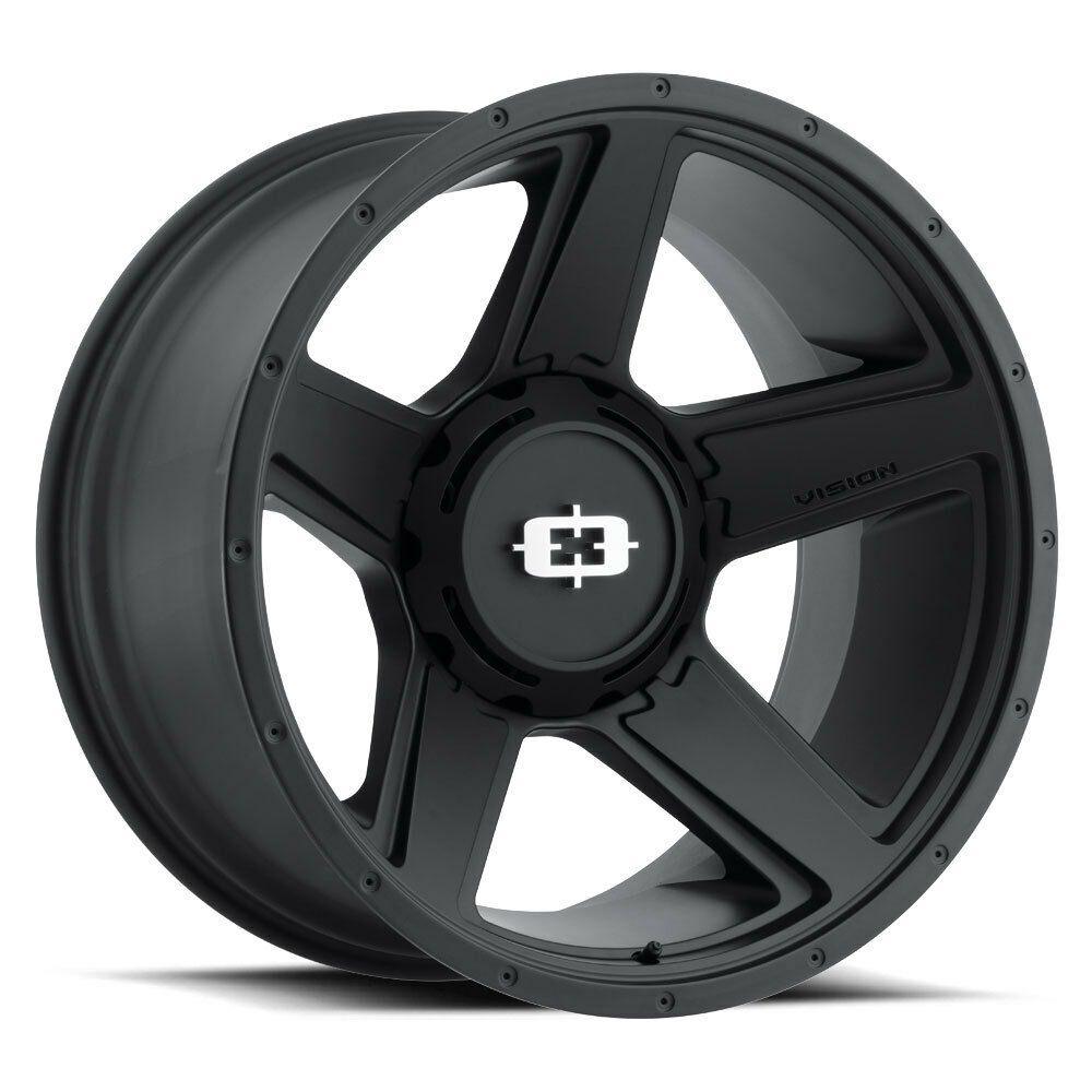 """20"""" Vision 390 Empire Black Wheel 20x9 8x6.5 18mm Chevy"""