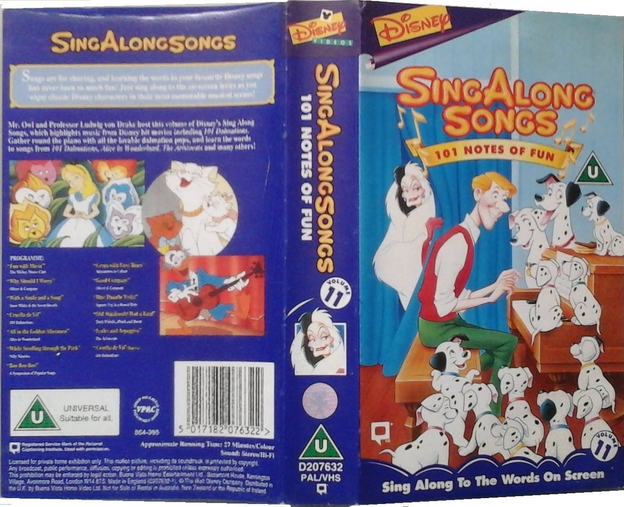 Disney Sing Along Songs 101 Notes Of Fun Vhs Front And Back Cover Uk Sing Along Songs Songs Singing
