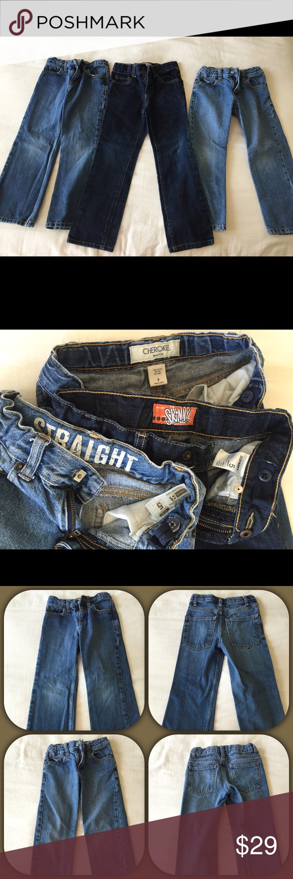 Boys Size 5 jeans. Old Navy, Crazy 8, Cherokee Boy's Size 5 Jeans Lot - 3 Pairs   1. Old Navy 2. Cherokee 3.  Crazy 8  All have adjustable waist  Smoke free, pet free home.   Im always happy to combine purchases for shipping. Thank You!! Old Navy Bottoms Jeans