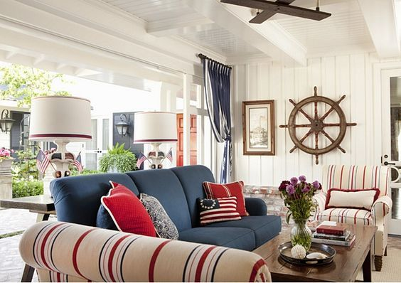 Ten Patiotic Rooms With A Nautical Twist With Images Nautical