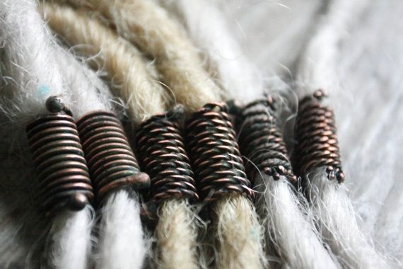Spiral copper dreadlock beads in antiqued patina, hair & beard beads, hammered metal hair accesories, OOAK, handmade jewelry, rasta, hippie