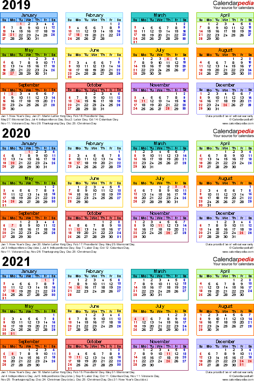 photograph about 3 Year Calendar Printable referred to as Template 3: Excel template for 3 yr calendar 2019-2021