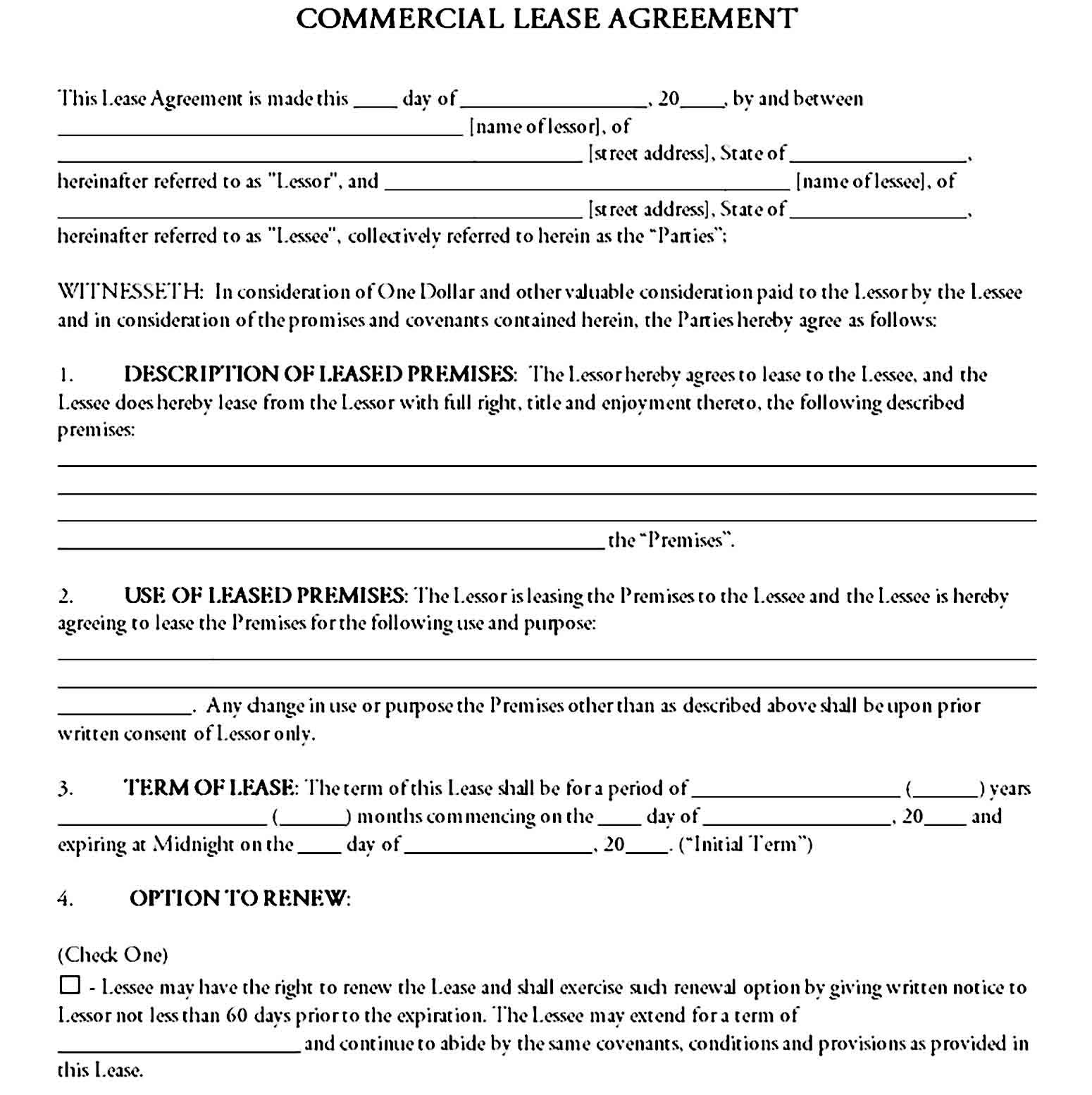 Commercial Lease Agreement Printable In 2021 Lease Agreement Lease Business Template Option to renew lease form
