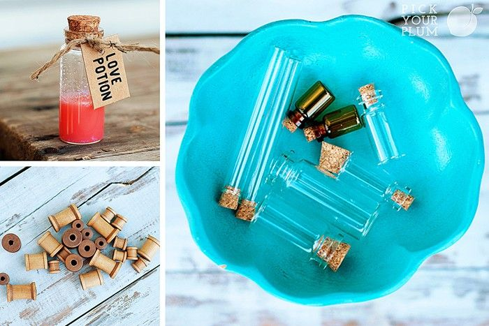 Sit and Stay a Vial - #glassvials Set of 8 and #woodenspools Set of 24. So pretty, so fresh, so fun. They'll have you all vial-ed up! pickyourplum.com