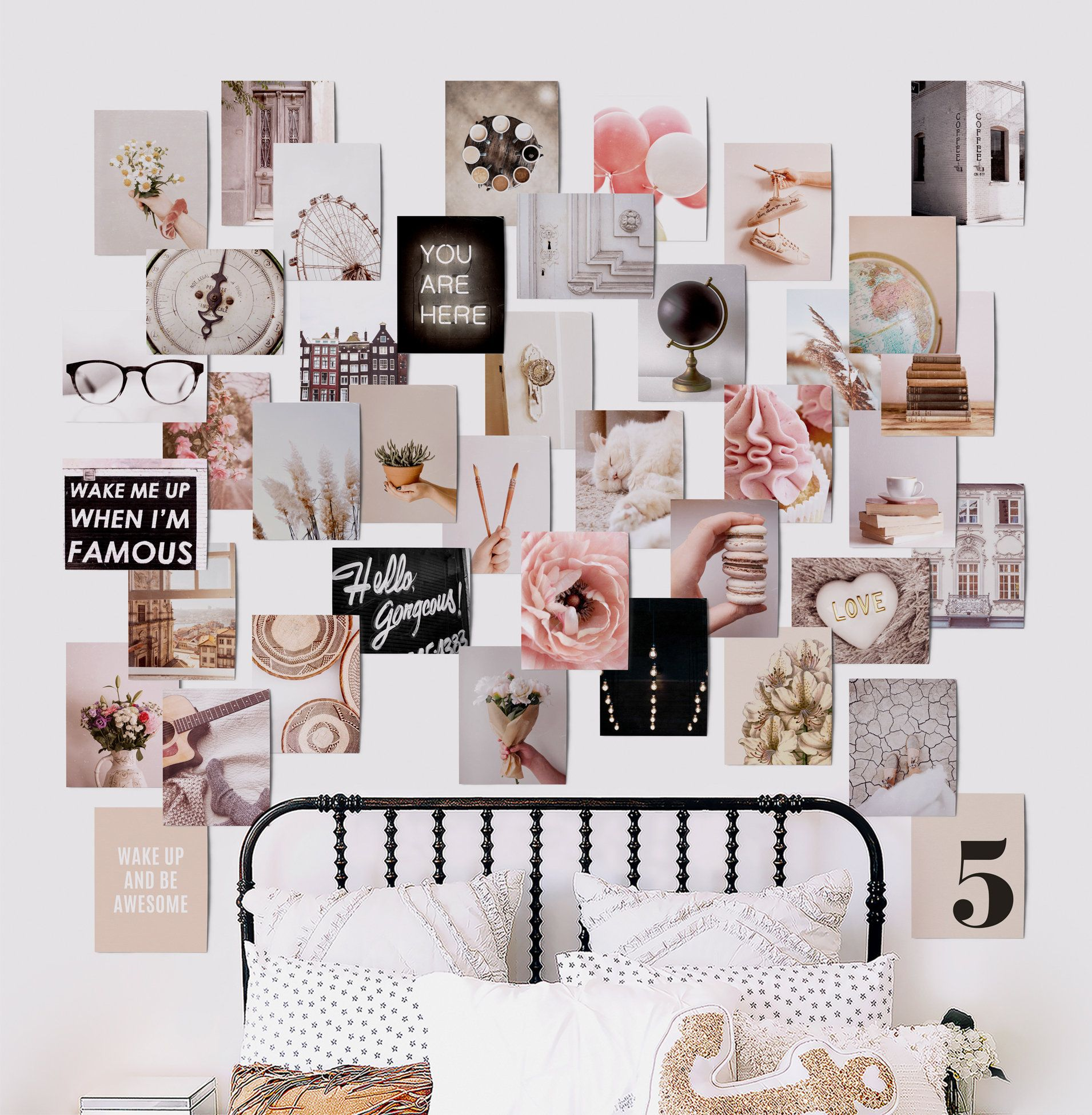 Digital Printable Pink And Gray Gallery Wall Collage Kit Set Of 40 Size 8 5x11 Moody Collage Wall Art Kit Moody Art Bedroom Decor In 2020 Art Collage Wall Nursery Wall Collage