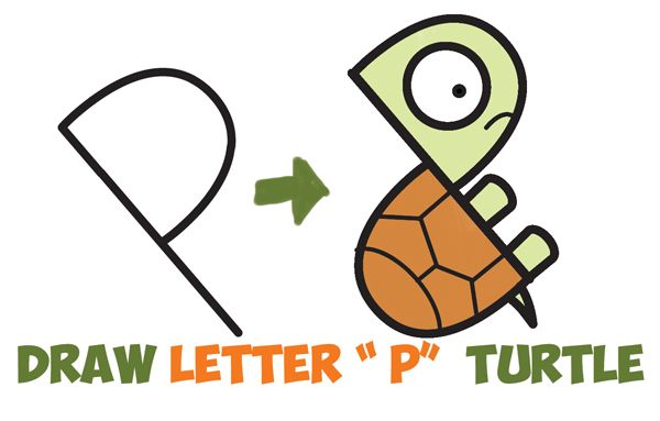 How to Draw a Cute Cartoon Turtle from Letter  - p&l template