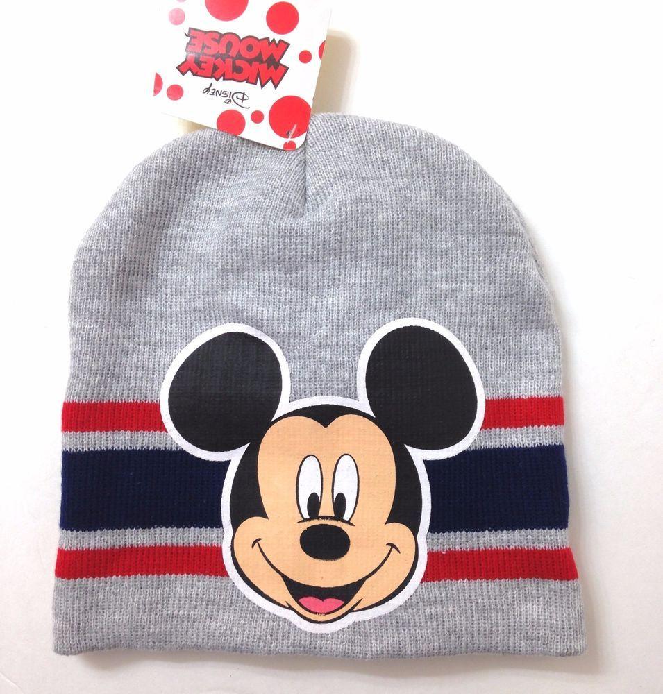 77694249178 New MICKEY MOUSE BEANIE Heather-Gray Navy Blue Red Winter Knit Ski Hat  Men Women  Disney  Beanie