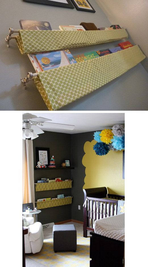 Hanging Book Shelves For The Kids Room 2 Curtain Rods Double Rod Brackets And Some Fabric