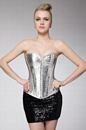 Top High Corset Bustier Tops Dress With Black Shiny Fascinating Mini