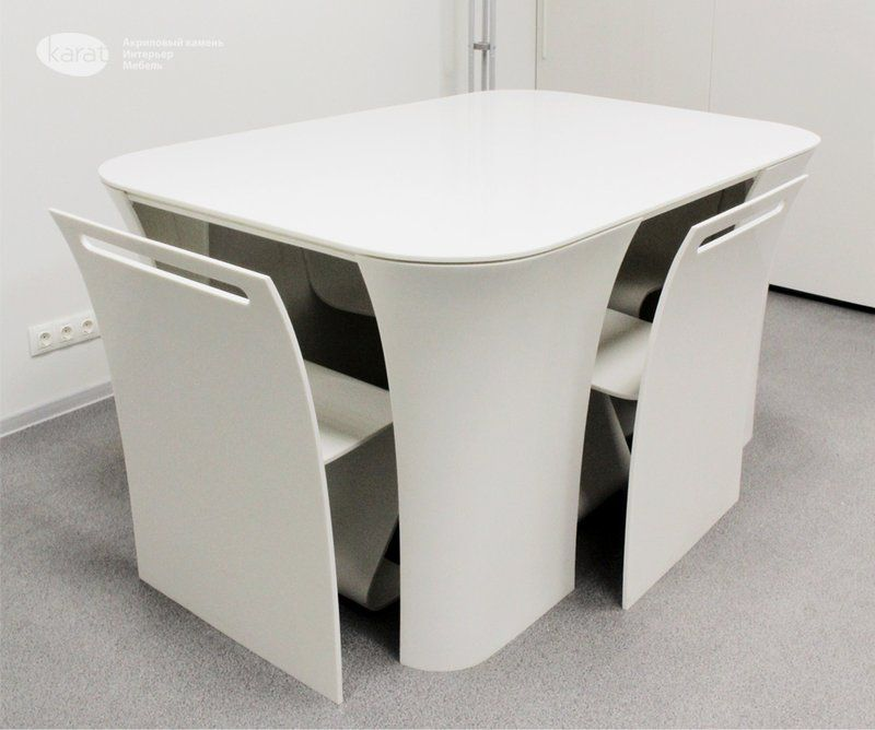 Modern And Contemporary Table With Hidden Chairs Table 2 2 Home Building Furniture And In In 2020 Modern Table And Chairs Futuristic Furniture Small Dining Table