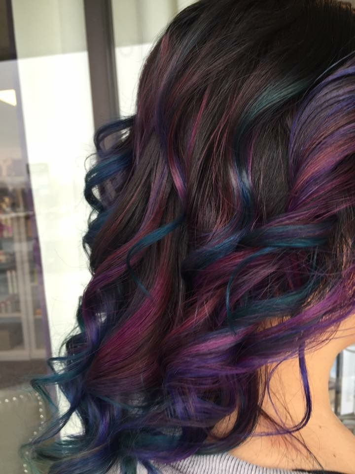 mermaid hair.oil slick hair.galaxy