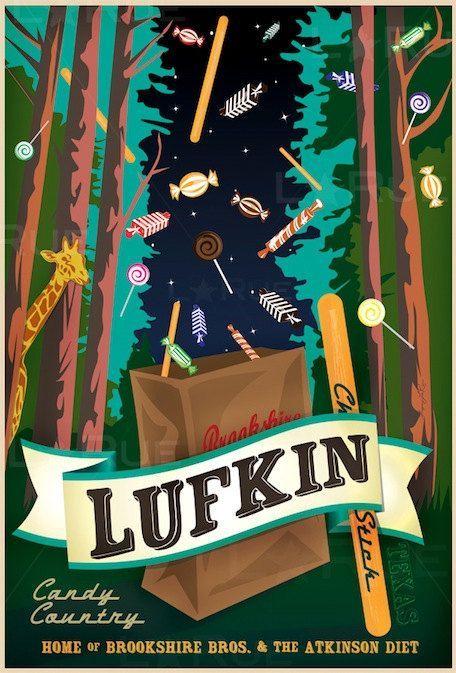 Vintage Style Texas Art City Travel Poster Lufkin Etsy Lufkin Texas Art Travel Posters