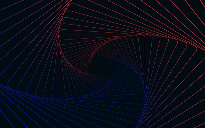 Download wallpapers vortex, 4k, stripes, spiral, art, lines | 3d
