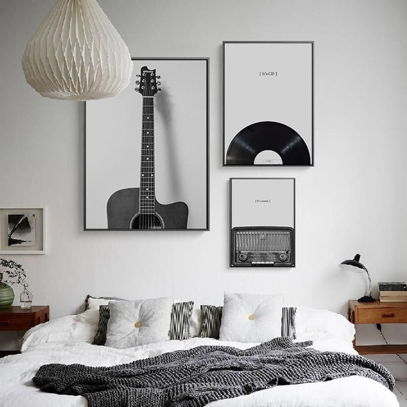 Vintage Black White Photography Music Wall Pictures White Wall Decor Wall Decor Bedroom Black And White Living Room