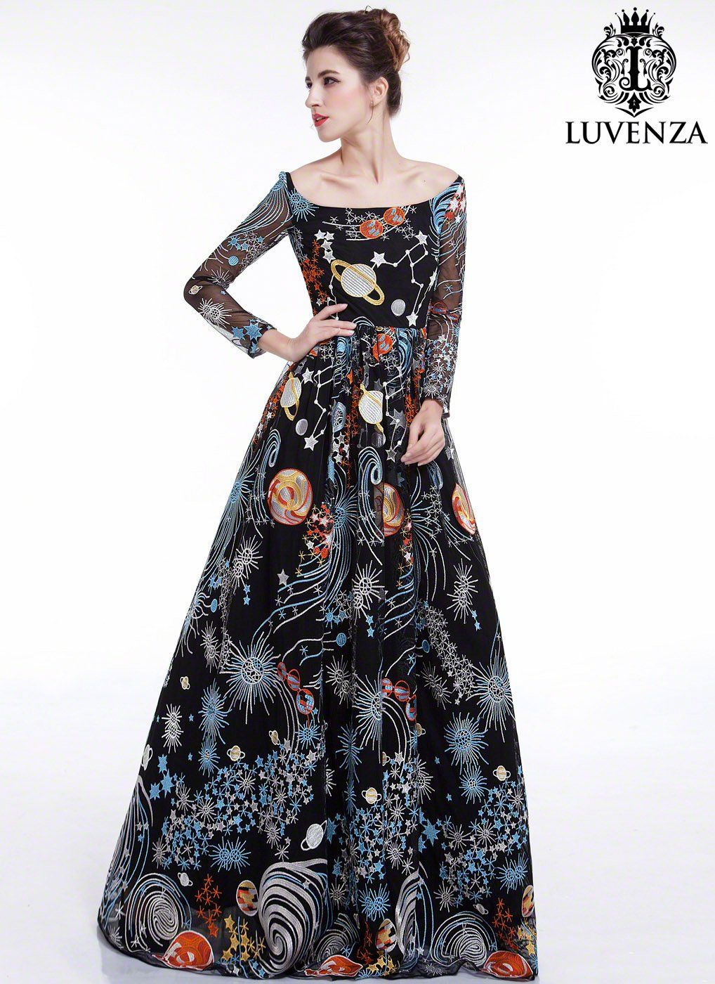 Black galaxy print floor length evening dress with