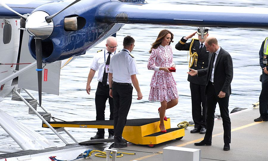 Prince William and Kate arrive in Vancouver aboard a seaplane