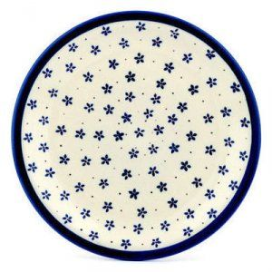 Small blue five-pointed flowers on white; Pattern P3746A