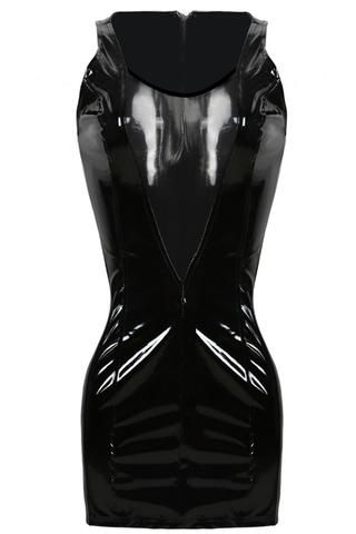 atomic black wet vinyl sleeveless mini dress  vinyl dress