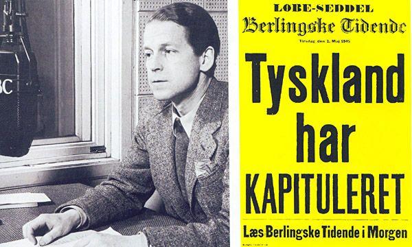 Den 4. maj om aftenen sendte BBC budskabet om at tyskerne havde overgivet sig i bl.a. Danmark fra den 5. maj kl. 8 om morgenen.