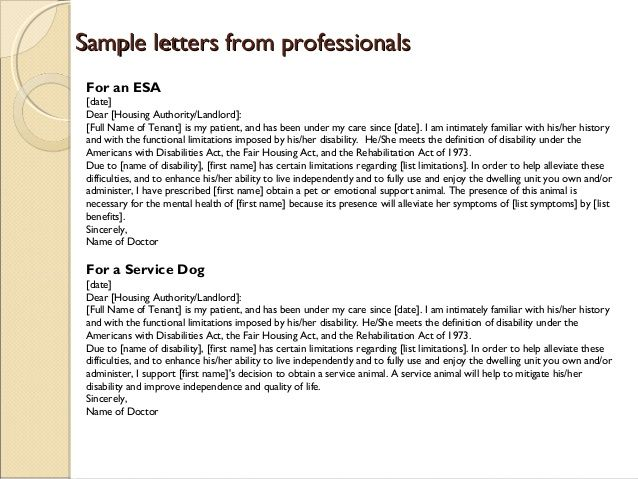 Emotional support animal letter template esa for Service pet letter