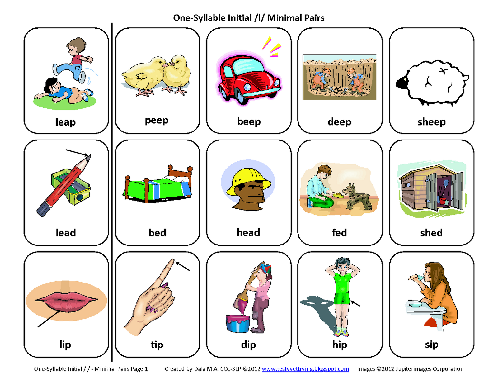 Initial L Minimal Pairs Free Speech Therapy Articulation