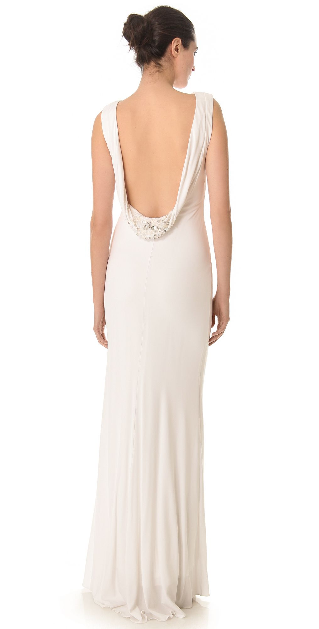 Badgley Mischka Collection Cowl Back Gown | SHOPBOP