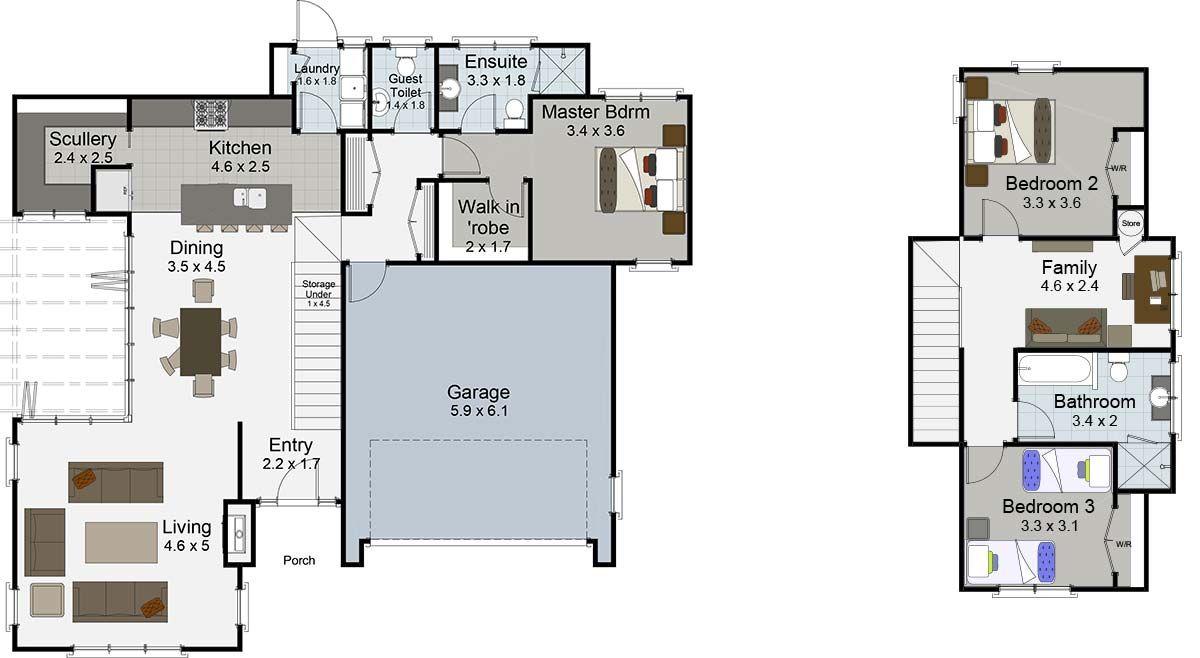 Cambridge 3 Bedroom 2 Storey House Plan Landmark Builders Nz 2 Storey House House Plans Floor Plans