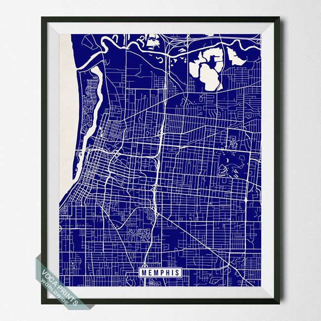 MEMPHIS, TENNESSEE STREET MAP PRINT by Voca Prints! Modern street map art poster with 42 color choices. Perfect for anyone who loves to travel or is away from home.