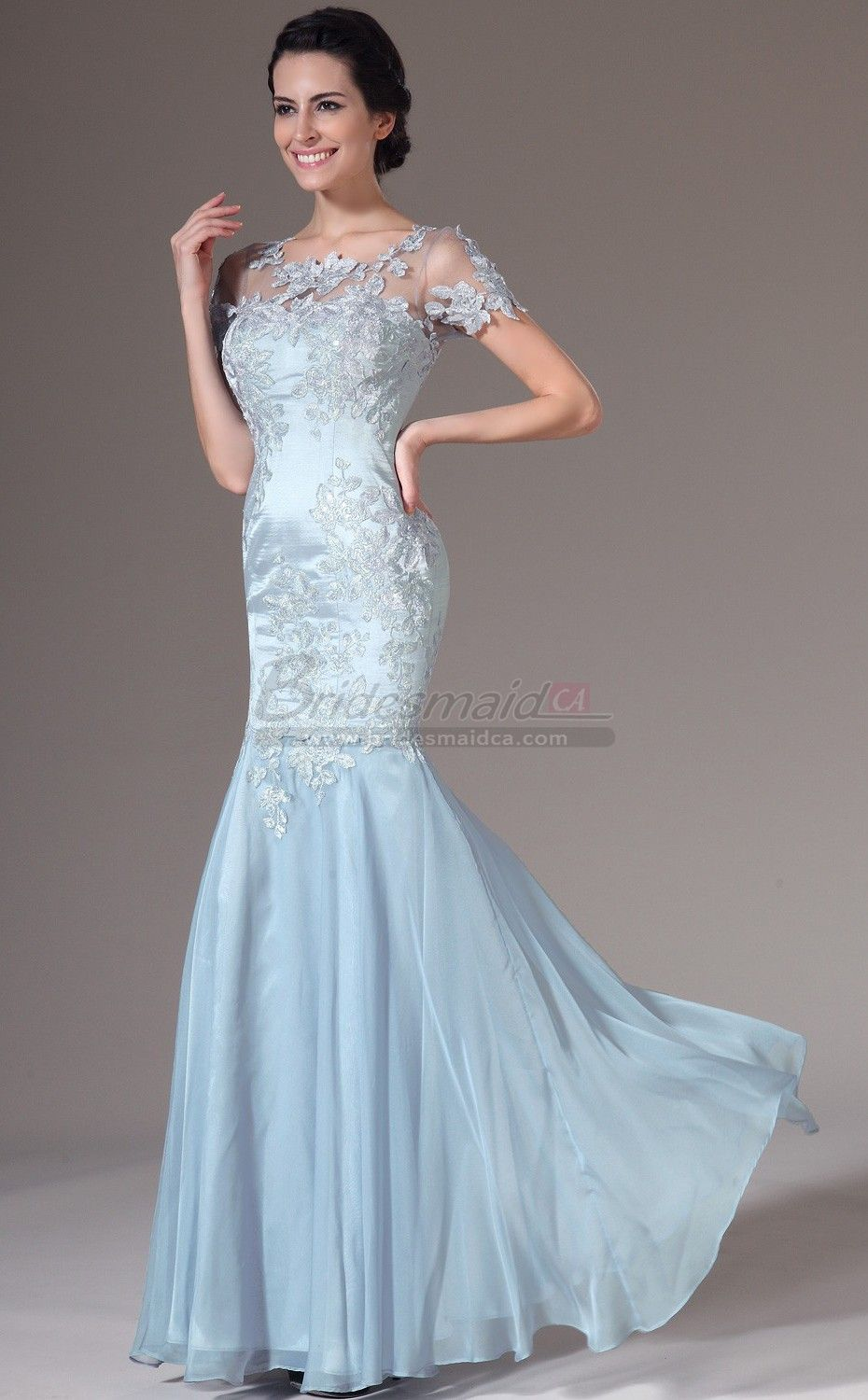 Sky Blue Chiffon and Lace Long Scoop Neck Mermaid Bridesmaid Dress ...