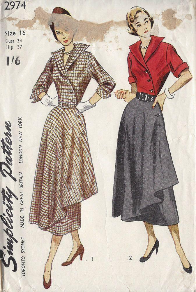 d6c5c2375bd5 1949 Vintage Sewing Pattern B34 DRESS (1240) in 2019 | vintage ...