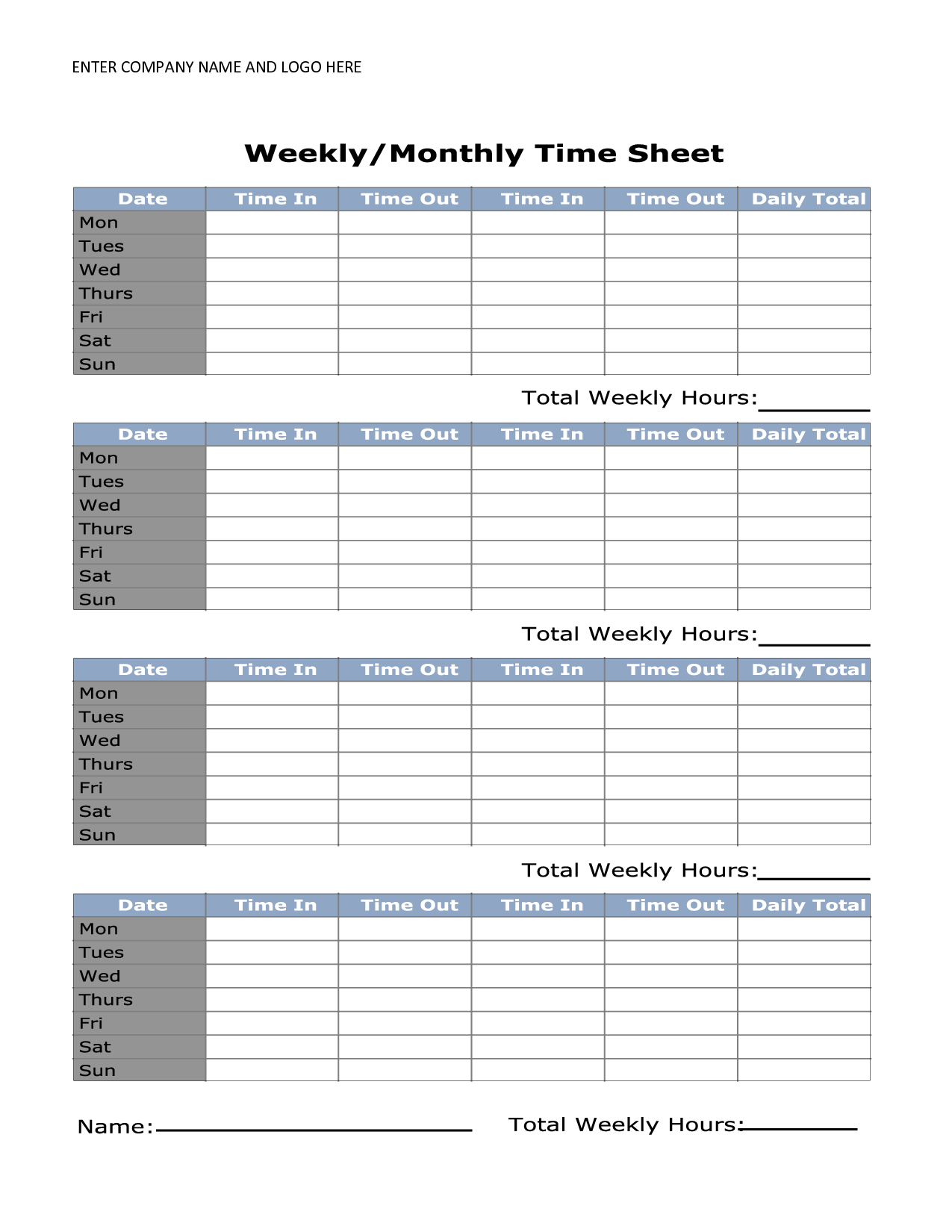 Free Printable Monthly Time Sheets Timesheet Template Time Sheet Printable Templates Printable Free