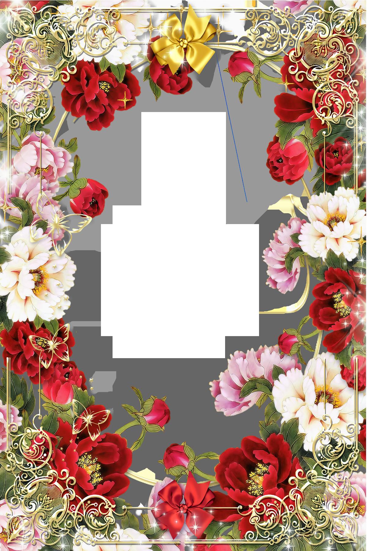 Transparent Gold PNG Frame with Flowers Flower frame