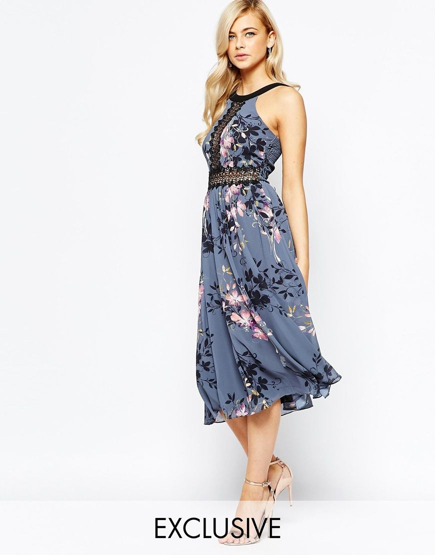 Image 1 of Little Mistress High Neck Midi Dress With Lace Insert
