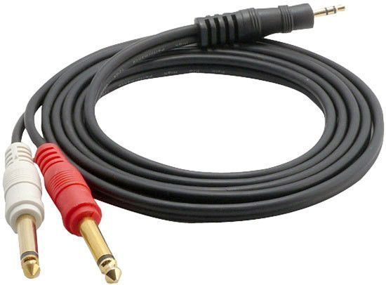 12 Gauge 3.5mm 6Ft Male Stereo To Dual 1/4'' Male Mono Y-Cable Adapter