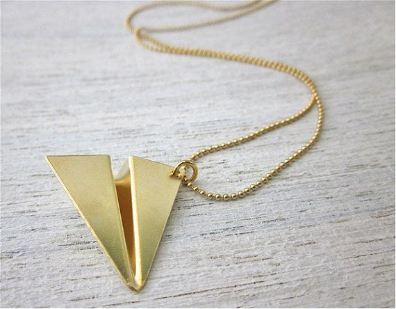 Paper Plane Necklace In Gold Japanese Origami Inspired Gold Pendant
