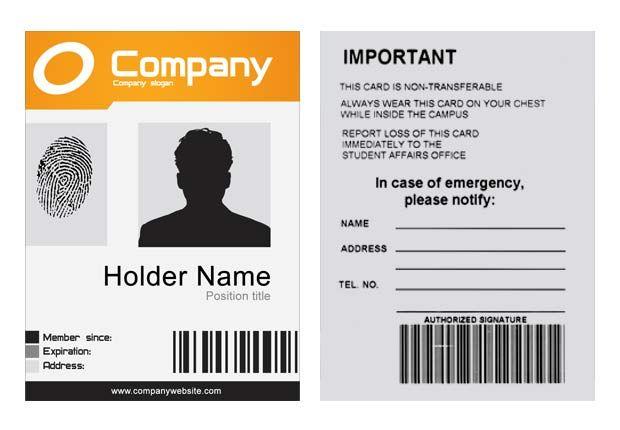 Free Id Card Template Id Card Template Card Templates Free Employee Id Card