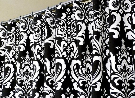 Great Black And White Damask Shower Curtain