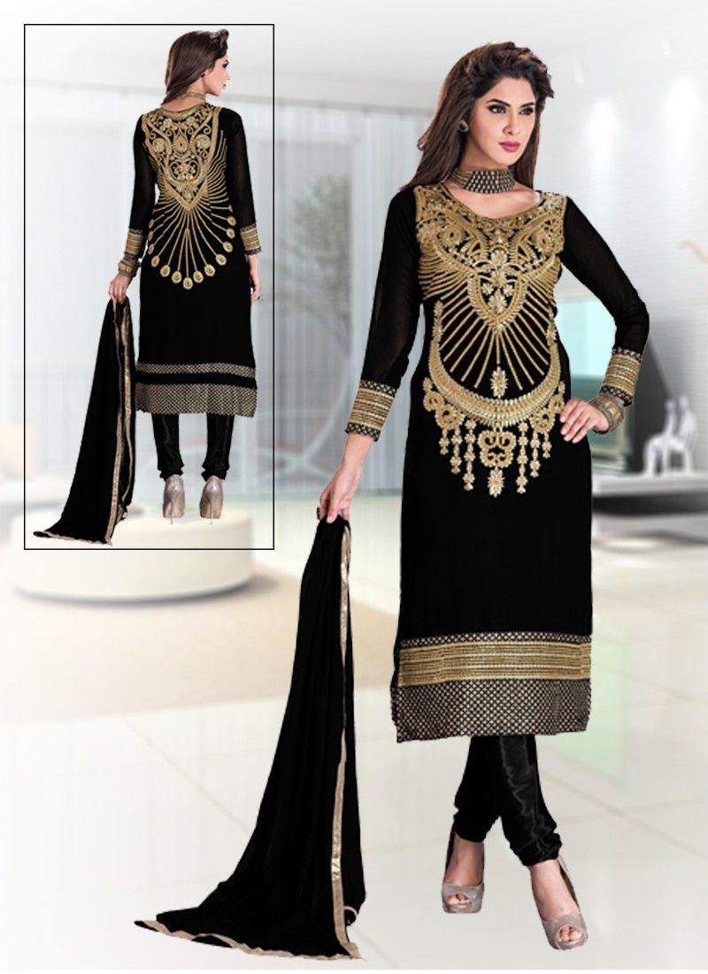 Gracious Black Coloured Georgette Embroidery Indian Designer ...