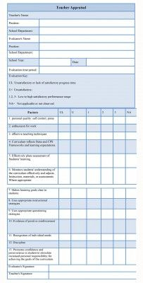 Teacher Appraisal Form Helps A Teacher To Understand The Growth In