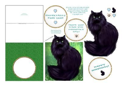 LUCKY BLACK CAT SAUCER OF MILK EASEL DECOUPAGE CARD SHEET on Craftsuprint - Add To Basket!